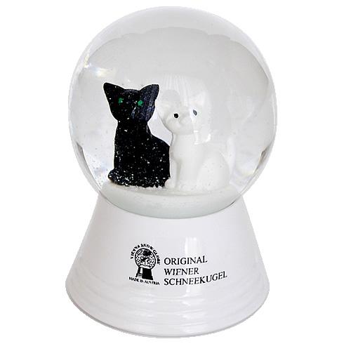 Vienna Snowglobe 4.5cm 白と黒のネコ