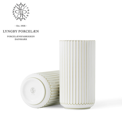 Lyngby Porcelaen ベース・ゴールドライン H15cm